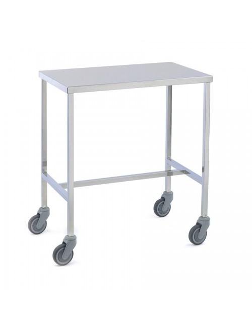 TABLE INSTRUMENTS 2 PLATEAUX INOX 100X60CM ROULETTES