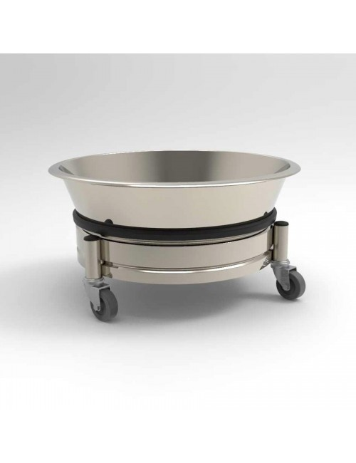 BAC ROND + CHARIOT INOX 3 ROULETTES - 15 LITRES