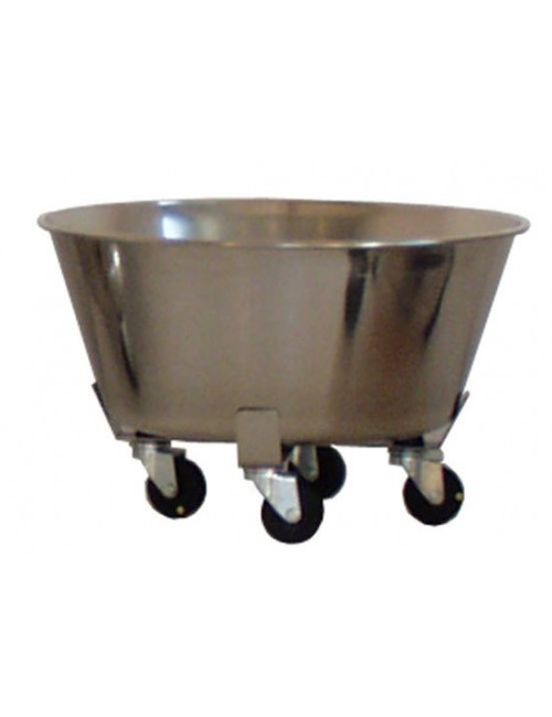 BAC ROND + CHARIOT INOX 4 ROULETTES - 15 LITRES