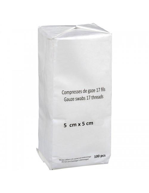 COMPRESSE DE GAZE HYDROPH. NON STERILE 13 FILS 12 PLIS 10X10 CM (X 100)