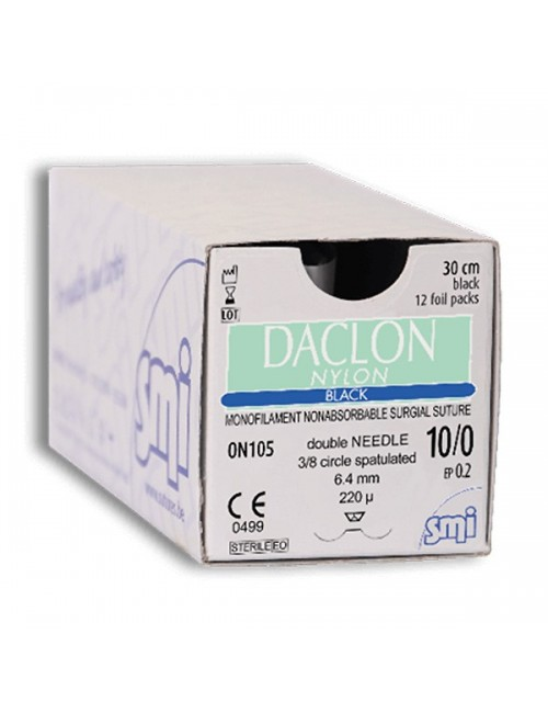DACLON NYLON BLACK DEC.0,5 (7/0) PT 3/8 2X6.20MM-150µM 30CM (X 12)