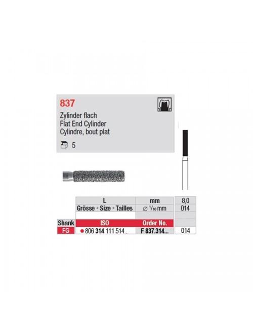 FRAISE EDENTA DIAMANTEE FG CYL. PLAT 837 GRAIN NORMAL ISO 014, LES 5 FRAISES
