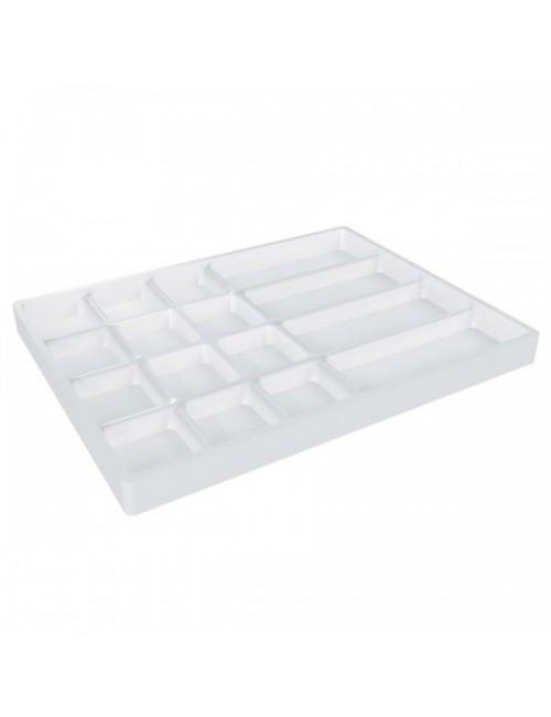 PLATEAU PLASTIQUE DIM. EXT. 40,5 X 30,5 X H 2,3 CM POUR TIROIR / 16 COMPARTIMENTS
