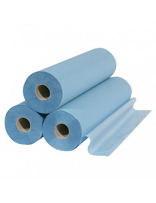 DRAP EXAMEN OUATE CELL.BLEUE PLAST.50X38CM ROULEAU DE 180 PCES  (X 6 ROULEAUX)