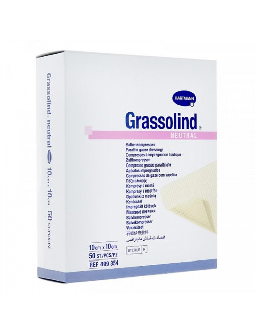 GRASSOLIND - PANSEMENT TULLE GRAS 5 X 5 CM (BTE DE 10)